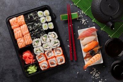 Posters Ensemble, sushi, maki, rouleau, vert, thé