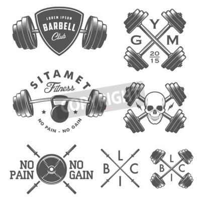 Posters Ensemble, vendange, Gymnastique, emblèmes, étiquettes, conception, éléments
