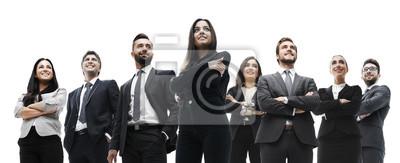 Posters équipe de l'entreprise avec succès isolé sur fond blanc