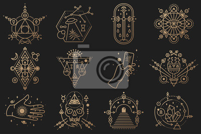 Posters Esoteric symbols. Vector. Thin line geometric badge. Outline icon for alchemy, sacred geometry. Mystic and magic design with crystals, sun, ufo flying, stars, gate to another world and moon.