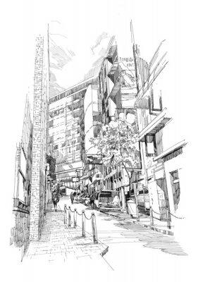 Posters esquisse de la vieille ruelle de la ville de main libre