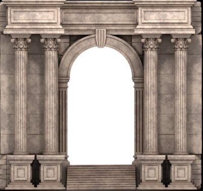 Posters Étapes pierre et Way Entrée de colonnes corinthiennes. 3d render.
