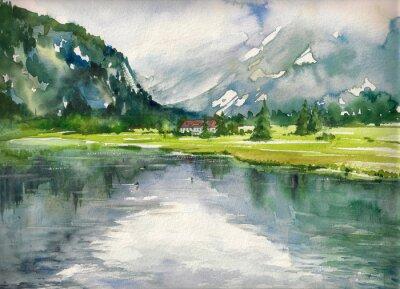 Posters Été, paysage, montagne, Lac, peint, aquarelles