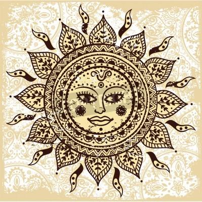 Posters Ethnique soleil ornementale