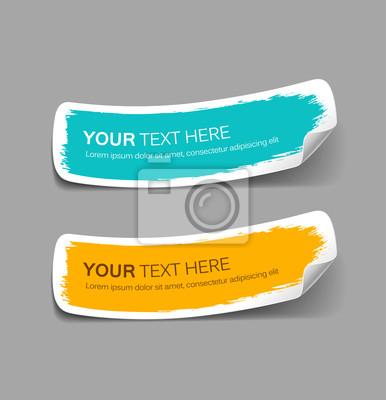 Posters Étiquette en papier coloré coup de pinceau, illustration