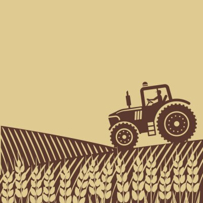Posters Étiquette ovale avec le paysage. Tracteur, champ