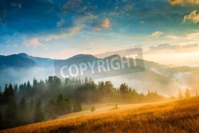 Posters Étonnant, montagne, paysage, brouillard, haystack