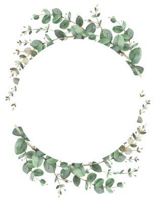 Posters Eucalyptus circle frame composition
