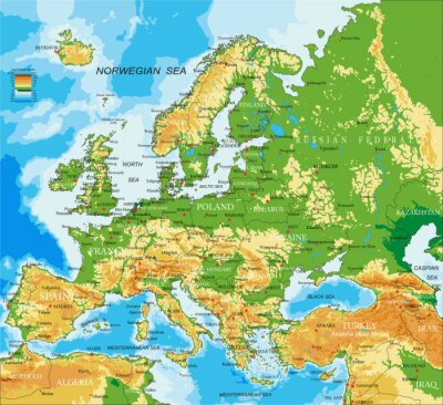 Posters Europe - carte physique
