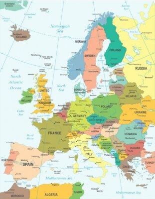 Posters Europe map - très détaillée illustration vectorielle.