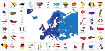 Posters European countries flag maps