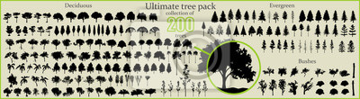 Posters Even More Ultimate Tree collection, 200 detailed, different tree vectors