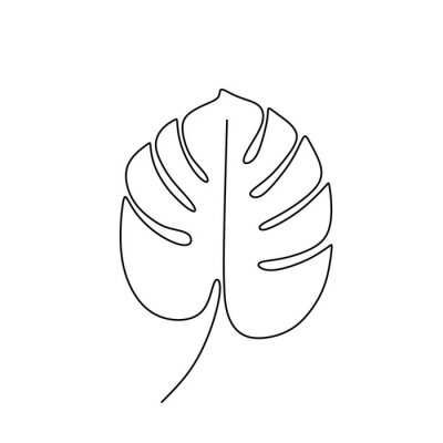 Posters Exotic monstera continuous one line drawing summer tropical leaf hand drawn on white background minimalist design