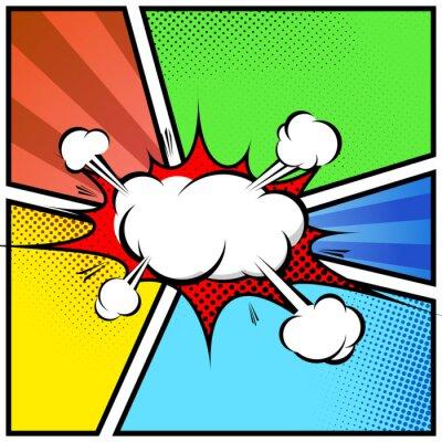 Posters Explosion abstract cloud style de bande dessinée de cadre de page modèle