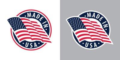 Posters Fabriqué aux États-Unis (États-Unis d'Amérique). Composition avec drapeau américain pour badge, étiquette, épingle, etc. Variantes pour les arrière-plans clairs et foncés.