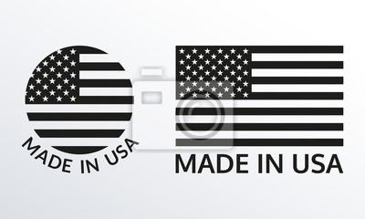 Posters Fabriqué aux États-Unis, logo ou ensemble d'étiquettes. Icône américaine avec drapeau américain. Illustration vectorielle