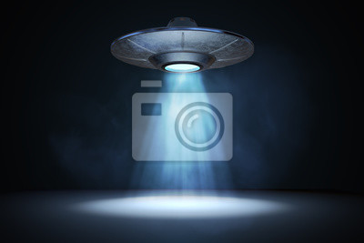 Posters Faisceau de lumière provenant d'un OVNI volant (vaisseau spatial extraterrestre). Illustration rendue 3D.