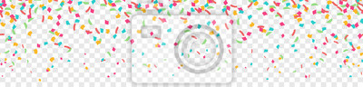 Posters Falling colorful confetti flat design seamless pattern background isolated
