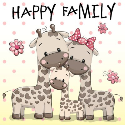 Posters Famille de trois girafes