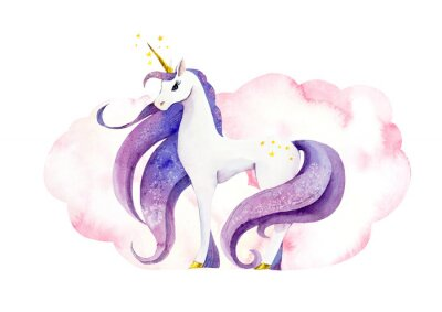 Posters Fantastic animal - unicorn in pink clouds/ Watercolor hand drawn illustration