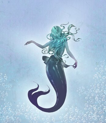 Posters Fantasy original raster illustration of a cute and beautiful anime mermaid with long blue curly  hair with her back to the viewer