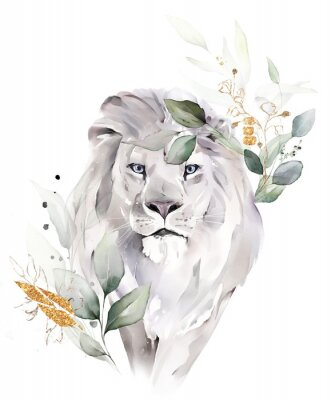 Posters fashion watercolor illustration. Drawing - lion with tree leaves. Botanic and animal print isolated on white background