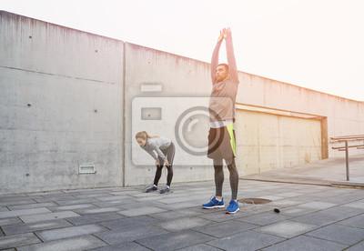 Fatigué, couple, étirage, après, exercice