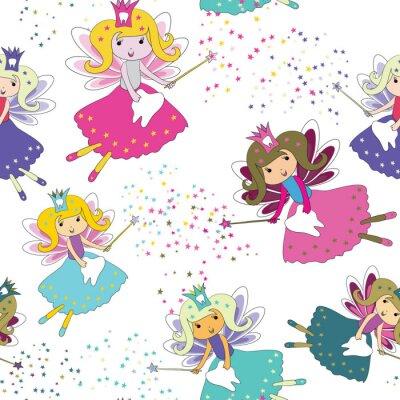 Posters Fées des dents avec des baguettes magiques et des étoiles autour. Modèle sans couture Illustration vectorielle sur fond blanc