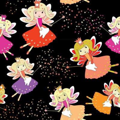 Posters Fées des dents avec des baguettes magiques et des étoiles autour. Modèle sans couture Illustration vectorielle sur fond noir
