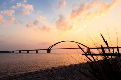 Posters Fehmarnsundbrücke bei Sonnenuntergang