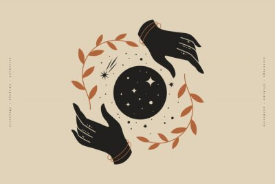 Posters Female hands hold branches around the shimmering moon. Magic vector illustration in trendy minimal style. Mystical symbols for spiritual practices, ethnic magic, and astrological rites.