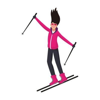 Femme avec skis dessin animé vector illustration graphisme