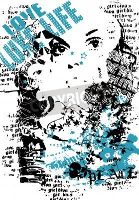 Posters femme avec style de la rue graffiti