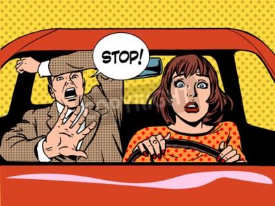 Posters Femme, conducteur, conduite, école, panique, calme, rétro, style, pop art. Voiture et transport