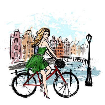 Posters Femme, conduire, bicyclette