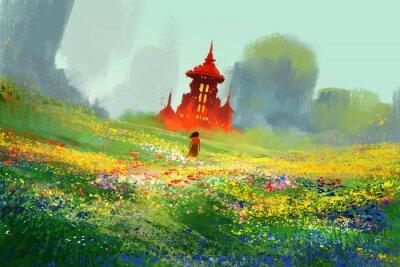 Posters Femme, fleur, champs, suivant, rouge, château, montagne ...