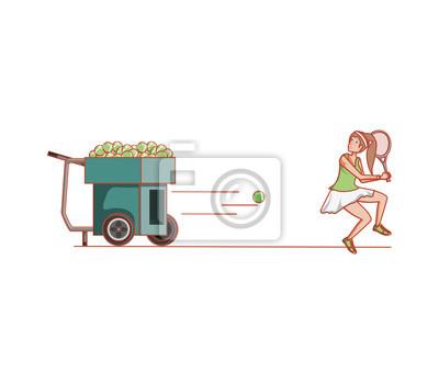 femme pratiquant le tennis avec machine à lancer les balles