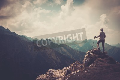Posters Femme, randonneur, sommet, montagne