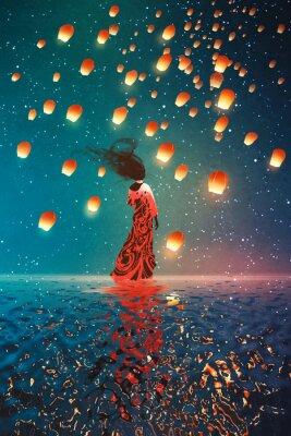 Posters Femme, robe, debout, eau, contre, lanternes, flotter, nuit ...