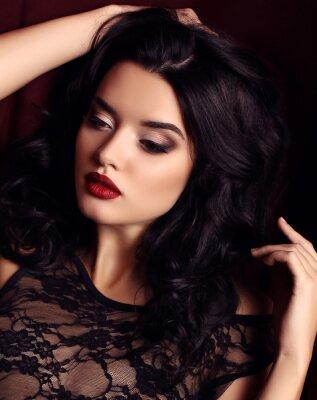 Posters Femme, sombre, cheveux, soir, maquillage, Porter, luxueux, noir, dentelle, robe