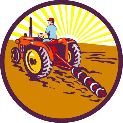 Posters Fermier, tracteur, Cercle, retro