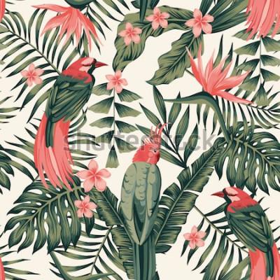 Posters Feuilles tropicales, fleurs de frangipanier, oiseaux de paradis, perroquet abstrait couleurs image vectorielle réaliste sans soudure