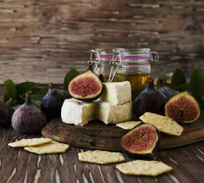 Posters Figues, fromage, miel, sélectif, foyer