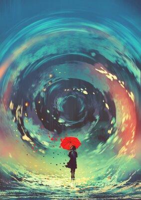 Posters fille avec parapluie rouge fait une eau tourbillonnante dans le ciel, style art numérique, illustration peinture
