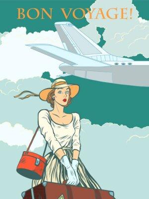 Posters Fille avion de passager Bon voyage