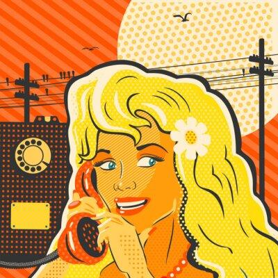 Posters Fille de style d'art de bruit avec le téléphone