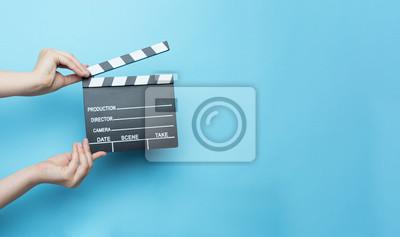 Posters Film, clapper, bleu, fond, cinéma, concept