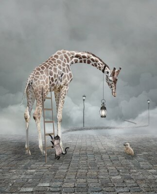 Posters Find a friend – Surreal conceptual illustration of a giraffe meeting a baby chicken