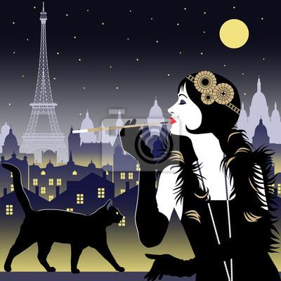 Flapper fille avec cigarette et chat noir sur fond de Paris la nuit. Illustration vectorielle dessinée à la main. Style Art Déco