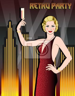 Flapper fille avec un verre de champagne dans une robe brillante sur le fond de la ville de nuit. Rétro carte d'invitation de dessin de main de partie. Style Art déco.